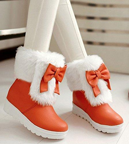 Idifu Womens Sweet Bow Mid Zeppa Con Faux Foderato Di Stivaletti Alti Stivali Da Neve Invernali Booties Arancione