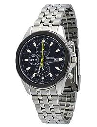 Seiko Mens Stainless Steel Chronograph Watch Black Dial SNDF09