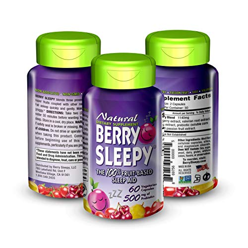 Berry Sleepy: {Vegeterian Capsules} Sleep Pills with Prebiotics - Keto Friendly Drink - Certified Organic Drinks - All Natural Organic Snack - Vegan Approved - Gluten Free Sleepy Supplement (60ct)