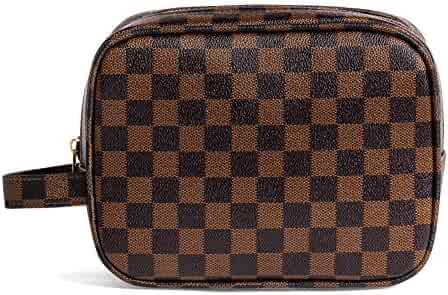 Rocket 92 Creations Checkered Makeup Bag for Women - Portable Multifunctional Cosmetic Bag - Toiletries Organizer Pouch with Zipper - Perfect for Makeup Tools, Lipstick, Eyeshadow & Brushes, Brown
