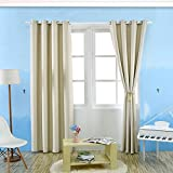 Room Darkening Thermal Insulated Blackout Grommet Window Curtain Panel For Bedroom, Living Room,1 Panel,51 Inch Wide By 85 Inch Long Each Panel, 8 Back Loops Per Panel (Beige)