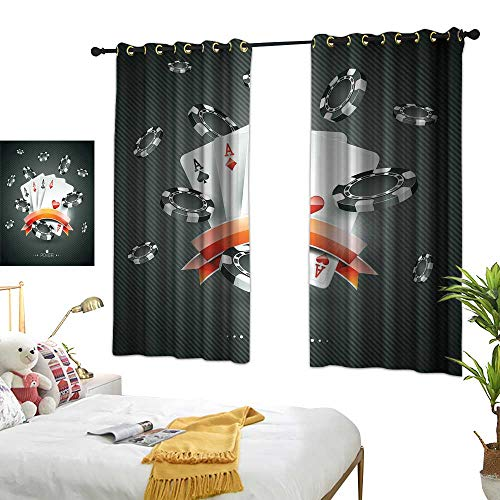 Anzhutwelve Best Blackout Curtains Poker Tournament Decorations,Artistic Display Spread Chips with Poker Cards Lifestyle,Black White Red W55 x L72 Grommet Curtains for Girls Room