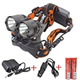 Genwiss 2 X Cree T6 Led 5000 Lumens 90 Degree Rotation Aluminum Alloy 3 switch Modes Headlamp for Camping Biking Hunting Fishing Riding Walking(Include 2 X 18650 4200 mAh Batteries and Charger)