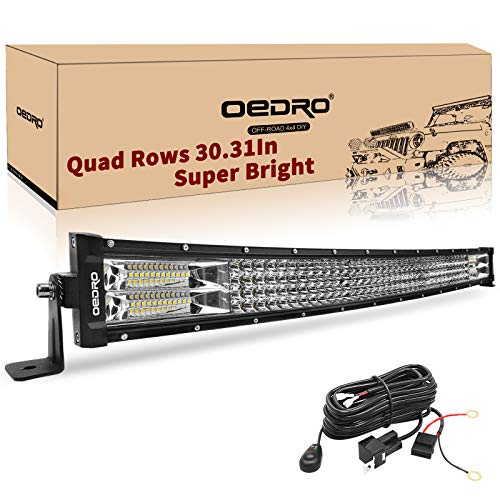 LED Light Bar Curved with Wiring Harness Quad-Row 32Inch 768W OEDRO Spot Flood Combo Led Lights Work Lights Fog Driving Light Off Road Light 12/24V Fit for Pickup Jeep SUV 4WD 4X4 ATV UTE TruckTractor