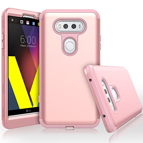 ase Heavy Duty High Impact Defense Shield Hard PC Outer Shell with Inner Soft Rubber Hybrid 3 in 1 Combo Full-body Armor Protective Case for LG V20 Rose Gold (Button Designer Suit)