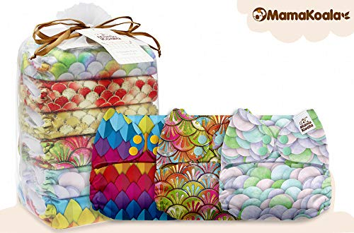 Mama Koala One Size Baby Washable Reusable Pocket Cloth Diapers, 6 Pack with 6 One Size Microfiber Inserts (Mermaid Princess)