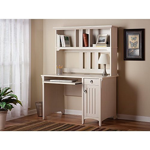 Salinas Mission Style Desk with Hutch in Antique White by Bush Furniture