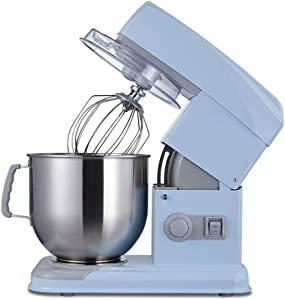 Electric Mixers for Baking 550W Electric Mixers Dough Mixer 6 Speeds Egg Beater Kitchen Vertical Mixer with 7L Stainless Steel Bowl (Color : Blue)