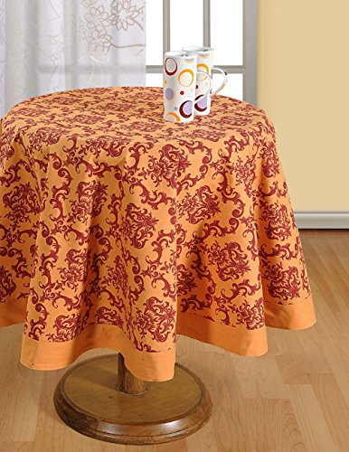 Round Tablecloth - 72 inches in Diameter - Tablecloths for 6 Seat Tables - Duck Cotton - Machine Washable (Breakfast Table Cloth)