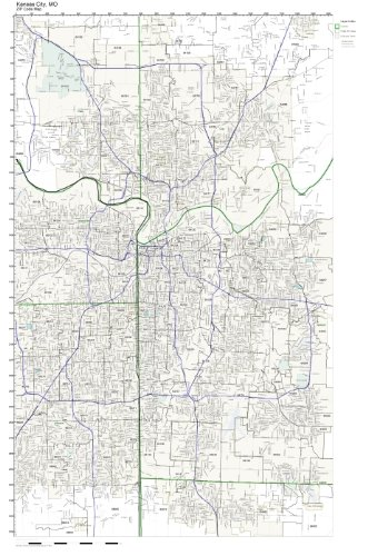Amazon.com: ZIP Code Wall Map of Kansas City, MO ZIP Code Map ...