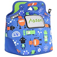 Kids Robots Neoprene Lunch Bag with ID Card Pocket | Identi-Tote by GOPRENE | Insulated, Reusable, Foldable, Washable, Color: ROBOT BLUE, 3 Blank Name Cards
