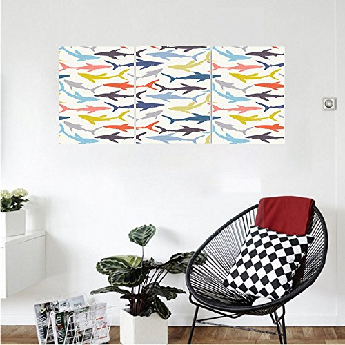 Liguo88 Custom canvas Sea Animal Decor Mix Pattern of Sharks in Various Tones Frighten Panic Phobia Pacific Home Decor Wall Hanging for Bedroom Living Room Multi Pacific Air Filter