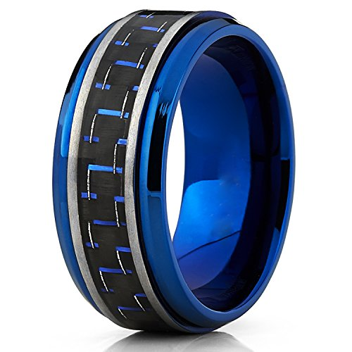 Mens Brushed Blue Titanium Wedding Bands Ring With Black and Blue