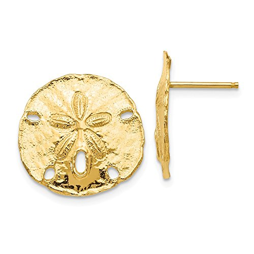(16mm Polished Sand Dollar Post Earrings in 14k Yellow Gold)
