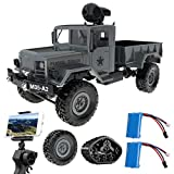 GILOBABY RC Military Truck with Wi-Fi HD Camera, 1:16 Scale Remote Control Off-Road Army Car 4WD 2.4Ghz Vehicle Crawler RTR for Adults and Kids (2 Batteries and 2 Kinds of Tires)