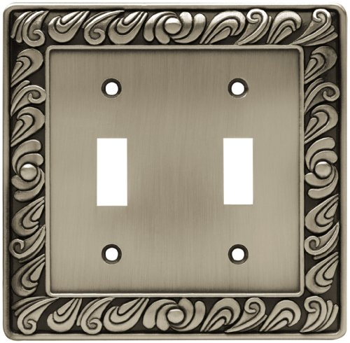 Franklin Brass 64039 Paisley Double Toggle Switch Wall Plate/Switch Plate/Cover, Brushed Satin Pewter ()