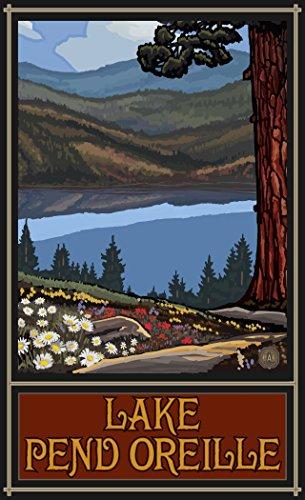 Northwest Art Mall PAL-5663 LKTH Lake Pend Oreille Idaho Trails Hills Print by Artist Paul A. Lanquist, 11