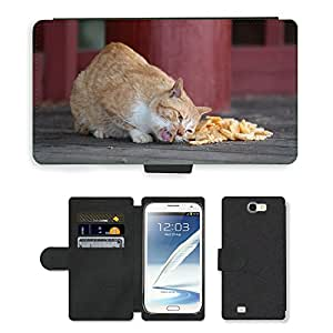 Hot Style Cell Phone Card Slot PU Leather Wallet Case // M00109806 Cat Confectionery Animal Feeding // Samsung Galaxy Note 2 II N7100