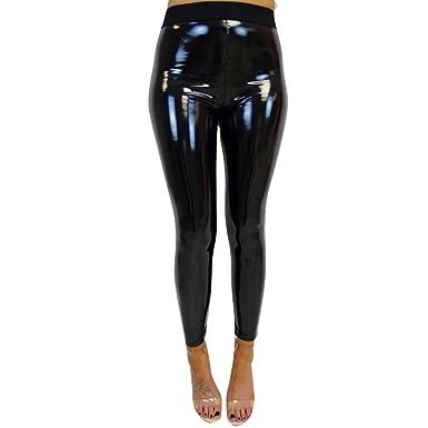 cb2e3213f41 Pantalon de Crayon en Similicuir pour Femmes Legging de Remise en Forme  Sportive Brillant Pantalon Taille