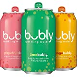bubly Sparkling Water, Tropical Thrill Variety Pack, 12 fl oz. Cans, (Pack of 18)