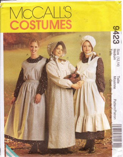 McCalls Sewing Pattern 9423 Misses Pioneer Dresses with Bonnet, Size Medium (12-14) (Pioneer Bonnet Pattern)