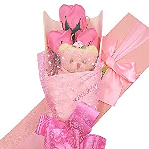 Abbie Home Flower Bouquet 3 Scented Soap Roses Gift Box with Cute Teddy Bear Birthday Mother's Day Valentine's Present-Pink 2