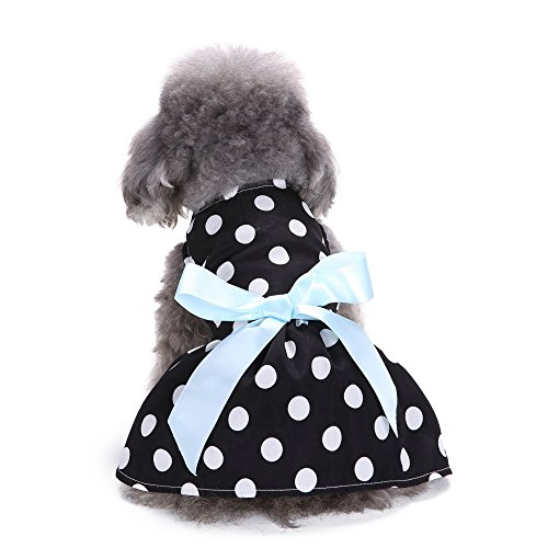 Dog Dress by Quno Cute Polka Dot Ribbon Dog Clothes Cozy Dog Shirt Pet Princess Dress up for Cat Puppy Black & White XS (Armoire Or Wardrobe Difference)