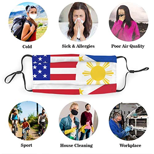 Half USA Half Philippines Flag Dust Mask with 2Pcs Filters,Anti Dust Mouth Mask,Reusable Face Mask Black