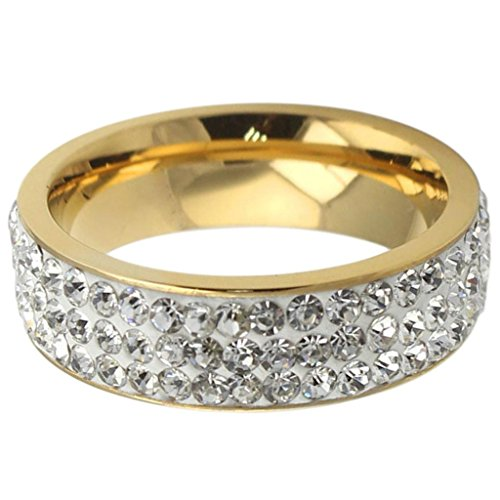 Bishilin Men's Stainless Steel Rings Shining CZ Cubic Zirconia 3 Channels Golden 7MM Size 11