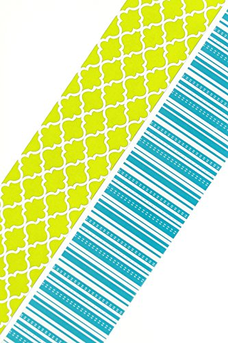 Renewing Minds Isabella Wide Double-Sided Border Trim, Green Quatrefoil and Blue Stripe, Pack of Twelve 38 inch Strips