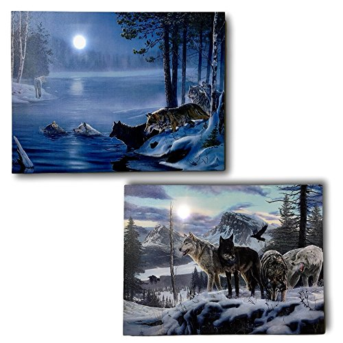 - BANBERRY DESIGNS Wildlife Home Decor - Set of 2 Light Up Wolf Prints - Stretched Canvas Artwork with Lights - Snowy Winter Scene with Wolves