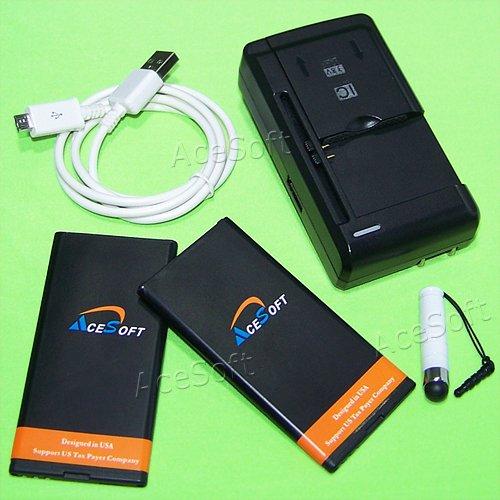 AceSoft 2x 2700mAh Battery Universal Travel Wall USB Quick C