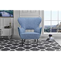 Mid-Century Modern Two-Tone Linen Fabric Accent Armchair with Shelter Style Living Room Chair (Blue / Blue)