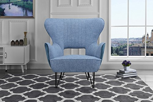 Mid-Century Modern Two-Tone Linen Fabric Accent Armchair with Shelter Style Living Room Chair Blue Blue