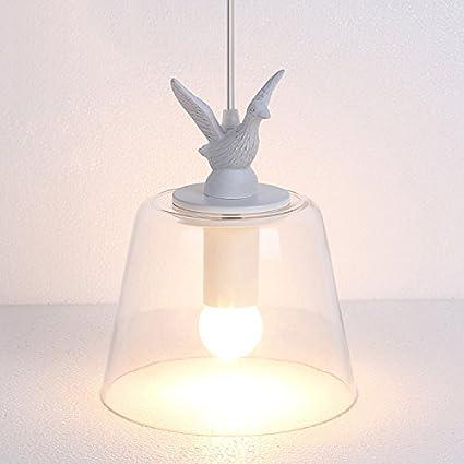 Modeen Retro Aldea Blanco Resina Cristal Nido de Pájaro Pantalla Abrigo Ajustable Techo Luz Colgante para