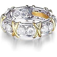 Women Men White Sapphire Wedding 925 Sterling Silver Band Rings Walking Street (7)