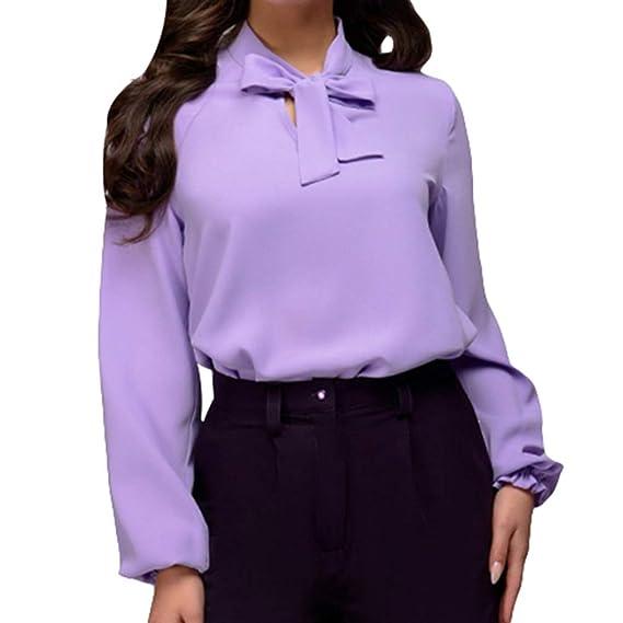 junkai Blusa del Vendaje del Arco De Las Mujeres Ocasionales Blusas De La Manga De La Linterna del Cuello De O Camisetas: Amazon.es: Ropa y accesorios