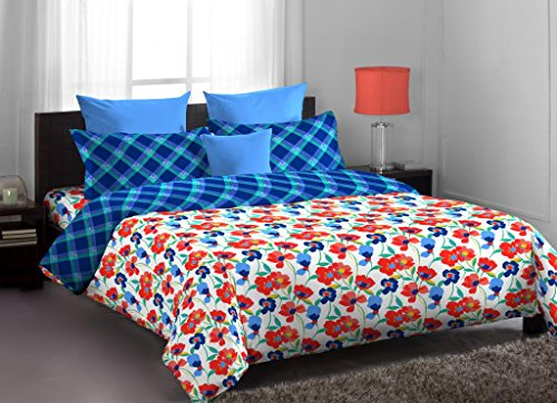 Home Expression USA Callidora Abstract Cotton Single Bedsheet with 1 Pillow Cover – Multicolor (807049281691)