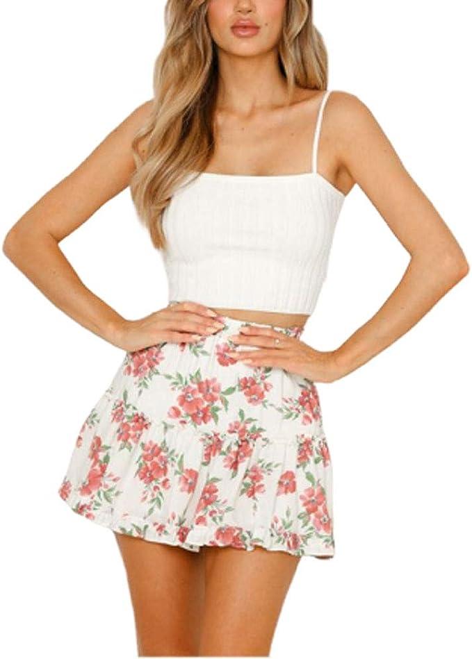 Falda de Verano para Mujer Cintura Alta de con Faldas Vacaciones ...