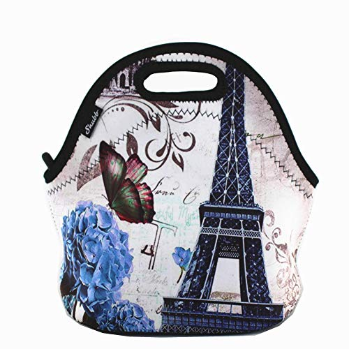 Shubb Lunch Bags, Insulated Lunch Bag, Neoprene Lunch Tote Boxes for Women Men Kids Boys Girls - Paris Eiffel Tower