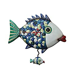 Allen Designs Fishy Lips Whimsical Pendulum Wall Clock