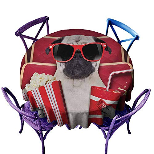 Zodel Water Resistant Table Cloth,Pug Funny Dog Watching Movie Popcorn Soft Drink and Glasses Animal Photograph Print,Stain Resistant, Washable,60 INCH,Red Cream Ruby -