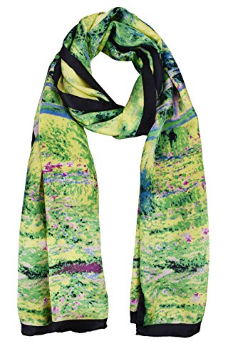 ELEGNA Women 100% Silk Art Collection Scarves (Claude Monet's Bridge) (High Bridge Cast)