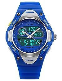 Kids Fashion Sports Casual Chronograph Waterproof Digital Wrist Watches Blue