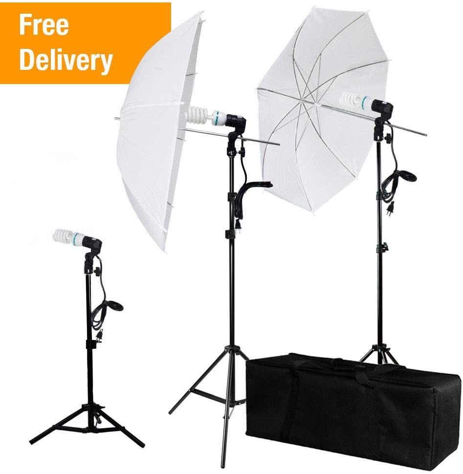 Photography Studio Lighting Kit Photo Umbrella Bulb Stand