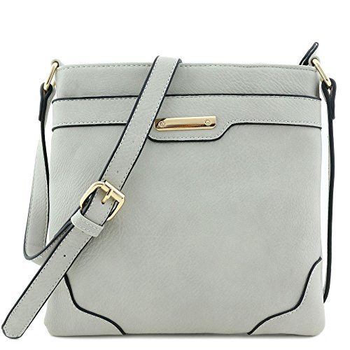 Women's Medium Size Solid Modern Classic Crossbody Bag with Gold Plate (Gray) ()