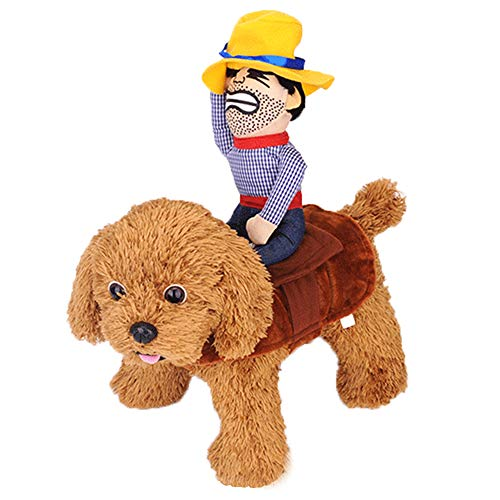 Dog Costume Halloween Pet Dog Cowboy Rider Costume Christmas Dogs Cats Suit Outfit Knight Style with Doll and Hat Adjustable Puppy Funny Cosplay Clothes Clothing Dog Dress Up Apparel Costume Size L