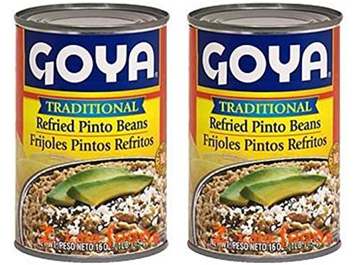Goya Refried Beans - Goya Traditional Refried Pinto Beans 16oz | Frijoles Pintos Refritos 454g (PACK OF 02)