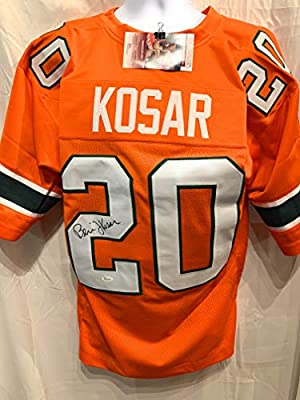 36f206766 Bernie Kosar Miami Hurricanes Signed Autograph Orange Custom Jersey JSA  Witnessed Certified