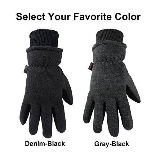 Deerskin Leather Palm /& Polar Fleece Back with Insulated Cotton OZERO Ski Gloves Coldproof Thermal Skiing Glove S Windproof Water-Resistant Warm Hands in Cold Weather for Women Men Gray
